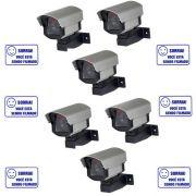 Kit 06 Câmeras de Segurança Falsas com led bivolt em alumínio + 06 Placas de Aviso