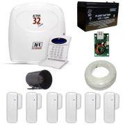 Alarme JFL com Central Active 32 DUO Com Módulo Ethernet + 6 Sensores Magnéticos JFL Sem Fio