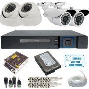 Kit 04 Câmeras de Segurança Alta Resolução AHD 720p Infravermelho DVR Stand Alone 4 Canais Acesso Via Internet