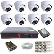 Kit 08 Câmeras Infravermelho Dome 1000 linhas Dvr 8 Canais HD 500 Gigas Acessórios