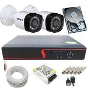 Kit 2 Câmeras de Segurança Híbridas 720p 1 Megapixel + DVR 4 Canais Com Acesso à Internet
