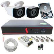 Kit 2 Câmeras de Segurança Infravermelho AHD 1.3 Megapixel 720p DVR 4 Canais - Acesso Nuvem