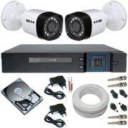 Kit 2 Câmeras Híbridas 4 em 1 Infravermelho 720p 1 Megapixel + DVR 4 Canais Multi HD