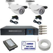 Kit 2 Câmeras Infravermelho 1.200 linhas Ircut + Dvr Multi HD 4 Canais HD 250gb e Acessórios