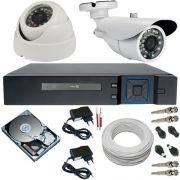 Kit 2 Câmeras Infravermelho AHD 720p Alta Resolução DVR Stand Alone Multi HD 4 Canais - Acesso Nuvem