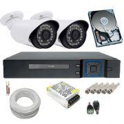 Kit 2 Câmeras Infravermelho Full HD 1080p 2.0 Megapixel DVR Multi HD 4 Canais - Acesso Remoto