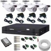 Kit 4 Câmeras de Monitoramento 1200 linhas Ircut com Gravador Dvr Stand Alone Intelbras