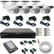 Kit 4 Câmeras de Monitoramento Infravermelho 1200 linhas Dvr Luxvision ALL HD Acesso Nuvem e Acessórios