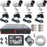 """Kit 4 Câmeras de Segurança Infravermelho Gravador Dvr Acesso Internet Monitor 7"""""""
