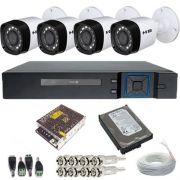 Kit 4 Câmeras Híbridas 4 em 1 Infravermelho 720p 1 Megapixel + DVR Stand Alone 4 Canais