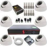 Kit 6 Câmeras Dome Infravermelho Analógica  1000 Linhas de Resolução + DVR Multi HD