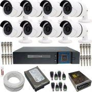 Kit 8 Câmeras de Segurança HD 1.3 Megapixel 720p Dvr Stand Alone 8 Canais - Acesso Internet