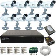Kit 8 Câmeras de Segurança Infravermelho com Gravador Dvr Stand Alone Luxvision e Acessórios Completo- Acesso Internet