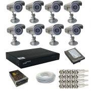 Kit 8 câmeras infravermelho 30 metros 1000 linhas com gravador Dvr Stand Alone Luxvision - Acesso P2p
