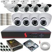 Kit Cftv 08 Câmeras de Segurança AHD 720p Infravermelho DVR Stand Alone 8 Canais Multi HD