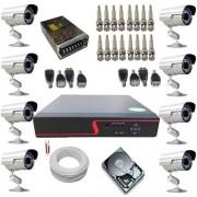 Kit Completo 8 Câmeras de Monitoramento Infravermelho com Gravador Dvr Stand Alone Acesso Nuvem P2P