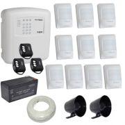 Kit de Alarme ECP Central Alard Max 1 + 10 Sensores Infravermelho Pet 20Kg