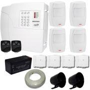 Kit de Alarme PPA Central 4 Zonas Com Discadora + 4 Sensores Infravermelho + 4 Sensores Magnéticos