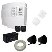Kit de Alarme PPA Central 4D 4 Setores Com Discadora + 2 Sensores Magnéticos Sem Fio