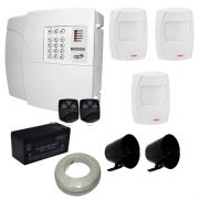 Kit de Alarme Residencial e Comercial PPA Central 4 Setores Com Discadora + 3 Sensores Infravermelho
