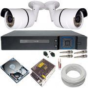 Kit de Monitoramento 2 Câmeras Infravermelho AHD 1.3 Megapixel 720p Gravador DVR 4 Canais Multi HD