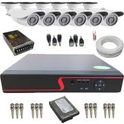Kit de Monitoramento 6 Câmeras AHD 1.3 Mp 36 Leds Infravermelho DVR 8 Canais Multi HD