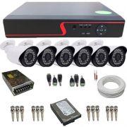 Kit de Monitoramento 6 Câmeras Full HD 2.0 Megapixel 1080p DVR Multi HD 8 Canais