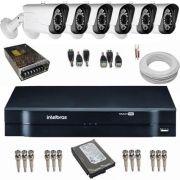 kit de Monitoramento 6 Câmeras Híbridas Full HD 1080p 2.0 Mp 42 Leds Infra + DVR Intelbras