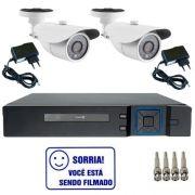 Kit Dvr Stand Alone Multi HD 4 canais + 2 Câmeras Bullet Infravermelho 1200 linhas + 2 fontes + 4 Conectores