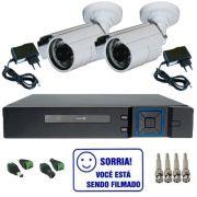 fb108686589ac Kit Dvr Stand Alone Multi HD 4 canais + 2 Câmeras Bullet Infravermelho AHD  1.3 Mp