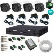 Kit Intelbras 4 Câmeras 3120B Multi HD 1.0 Mp Geração 3 + Dvr Multi HD 4 Canais