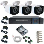 Kit Monitoramento 3 Câmeras bullet AHD 1.3 Mp 24 Leds Infravermelho DVR 4 Canais Multi HD