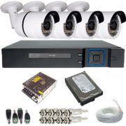 Kit Vigilância 4 Câmeras Bullet Infravermelho AHD 1.3 Megapixel DVR Stand Alone 4 Canais Acesso P2p