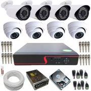 Kit Vigilância 4 Câmeras Dome de Metal AHD 1.3 Mp 4 Câmeras bullet AHD 1.3 Mp DVR 8 Canais Com Acesso Remoto