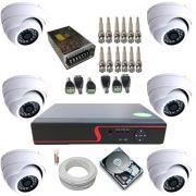 Kit Vigilância 6 Câmeras Dome de Metal Infravermelho AHD 1.3 Megapixel + Gravador DVR