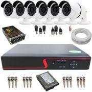 Kit Vigilância com 6 Câmeras Infravermelho AHD 1.3 Megapixel + DVR Multi HD 8 Canais