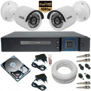 Sistema de Monitoramento 2 Câmeras Full HD 2.0 Mp 1080p DVR 4 Canais + HD 500 Gb