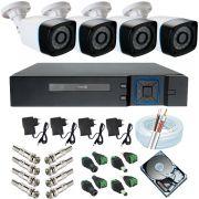 Sistema de Monitoramento completo 4 Câmeras ANKO Digital 1.3 Mp DVR ANKO 4 Canais Acesso P2p