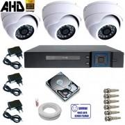 Sistema de Segurança 3 Câmeras Dome de Metal AHD 1.3 Mp Infravermelho DVR 4 Canais