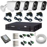 Sistema de Vigilância 4 Câmeras Híbridas Full HD 1080p 2.0 Mp DVR Intelbras Multi HD
