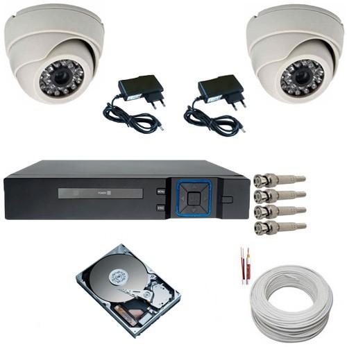 Kit Sistema de Segurança com 02 Câmeras Infravermelho Dome 1000 Linhas DVR Multi HD 4 canais + HD 500 Gigas  - Tudoseg Cftv - Sistemas de Segurança Eletrônica