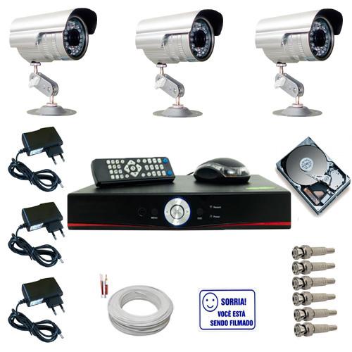 Kit 3 Câmeras Segurança Infravermelho até 30 metros com gravador dvr stand alone e acessórios  - Tudoseg Cftv - Sistemas de Segurança Eletrônica