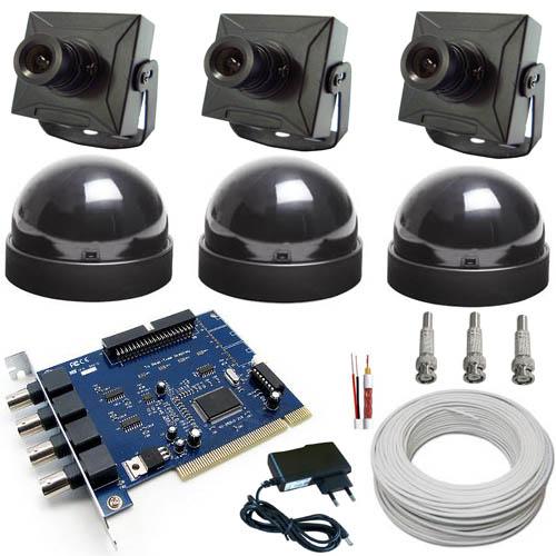 Kit Sistema de Monitoramento Completo para Computador 3 Micro Câmeras- Placa Geovision  - Tudoseg Cftv - Sistemas de Segurança Eletrônica
