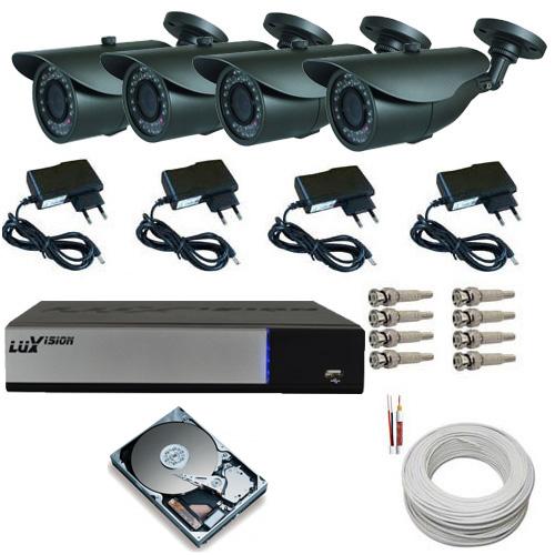 Kit 4 Câmeras Infravermelho Ircut HDIS 850 linhas Dvr Luxvision AHD Acesso Nuvem e Acessórios  - Tudoseg Cftv - Sistemas de Segurança Eletrônica