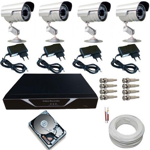 Kit 04 Câmeras Infravermelho até 30 Metros 1000 Linhas com Gravador Dvr Stand Alone e Acessórios  - Tudoseg Cftv - Sistemas de Segurança Eletrônica