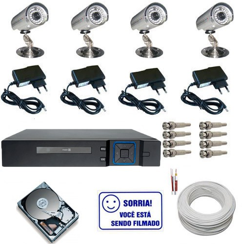 Kit 04 Câmeras Infravermelho até 30 Metros 1000 Linhas com Gravador Dvr Multi HD e Acessórios  - Tudoseg Cftv - Sistemas de Segurança Eletrônica
