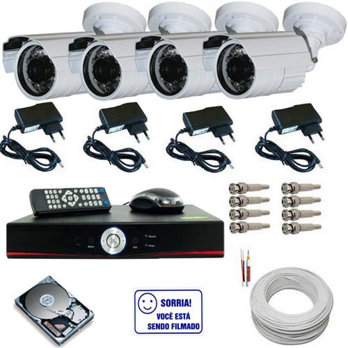 Kit 4 câmeras infravermelho 30 metros ccd digital 1000 linhas com gravador Dvr Stand Alone- Acesso via Internet  - Tudoseg Cftv - Sistemas de Segurança Eletrônica