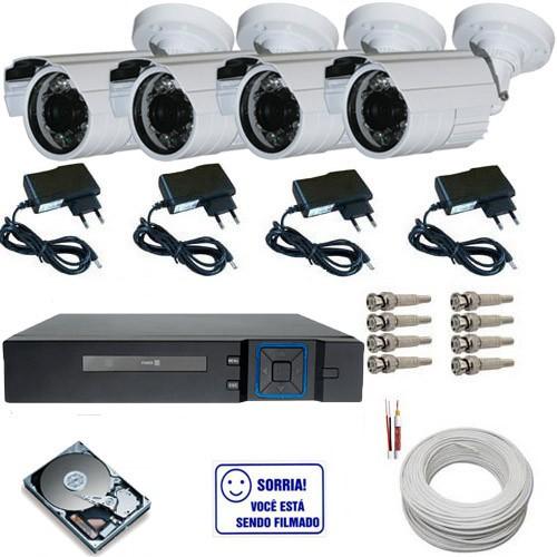 Kit 4 câmeras infravermelho 30 metros analógicas 1000 linhas - Dvr Stand Alone Multi HD  - Tudoseg Cftv - Sistemas de Segurança Eletrônica