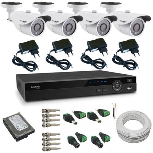 Kit Intelbras completo 04 Câmeras Gravador Dvr Stand Alone HD Acessórios  - Tudoseg Cftv - Sistemas de Segurança Eletrônica