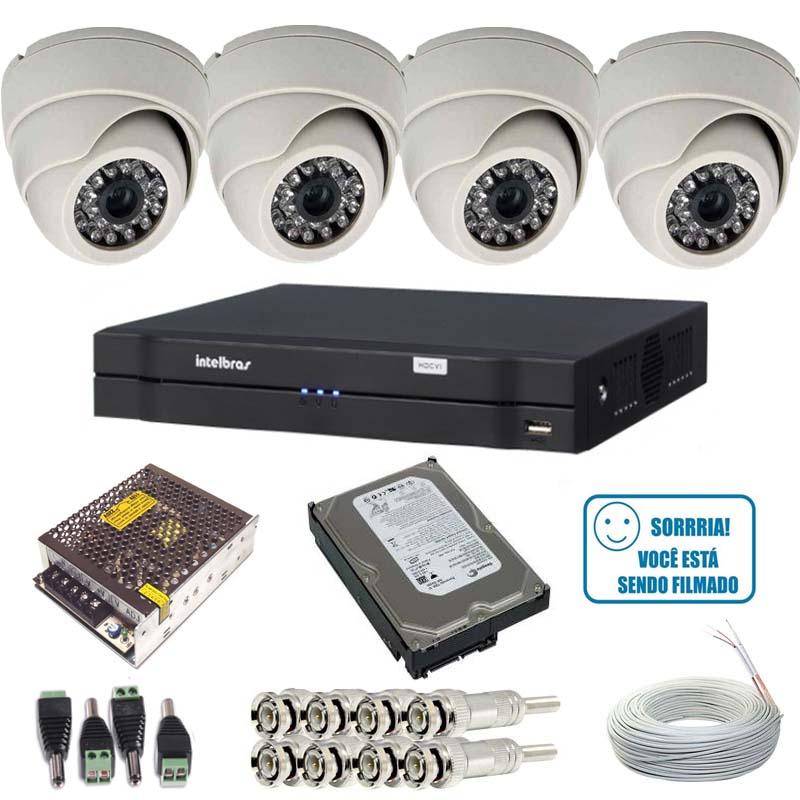 Kit 4 Câmeras Monitoramento Dome 1000 linhas Dvr Intelbras 1004 HD 500 gigas e Acessórios  - Tudoseg Cftv - Sistemas de Segurança Eletrônica